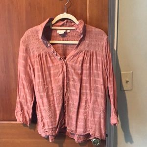 Apricot color shirt from Anthropologie
